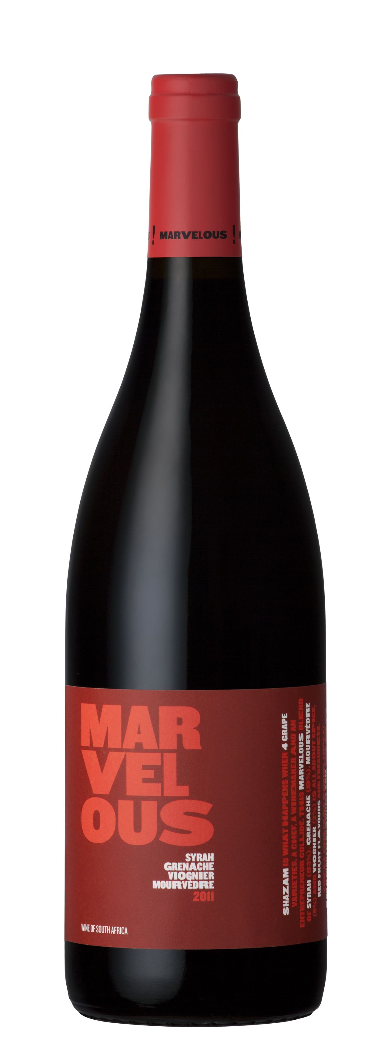 Marvelous Red 2011 A Blend Of 83 Shiraz 9 Grenache 3 Viognier 5 Mourvedre Grenache Viognier Wine Bottle