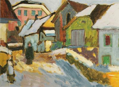 Gabriele Münter, Hof Im Schnee (Town in Snow) 1911