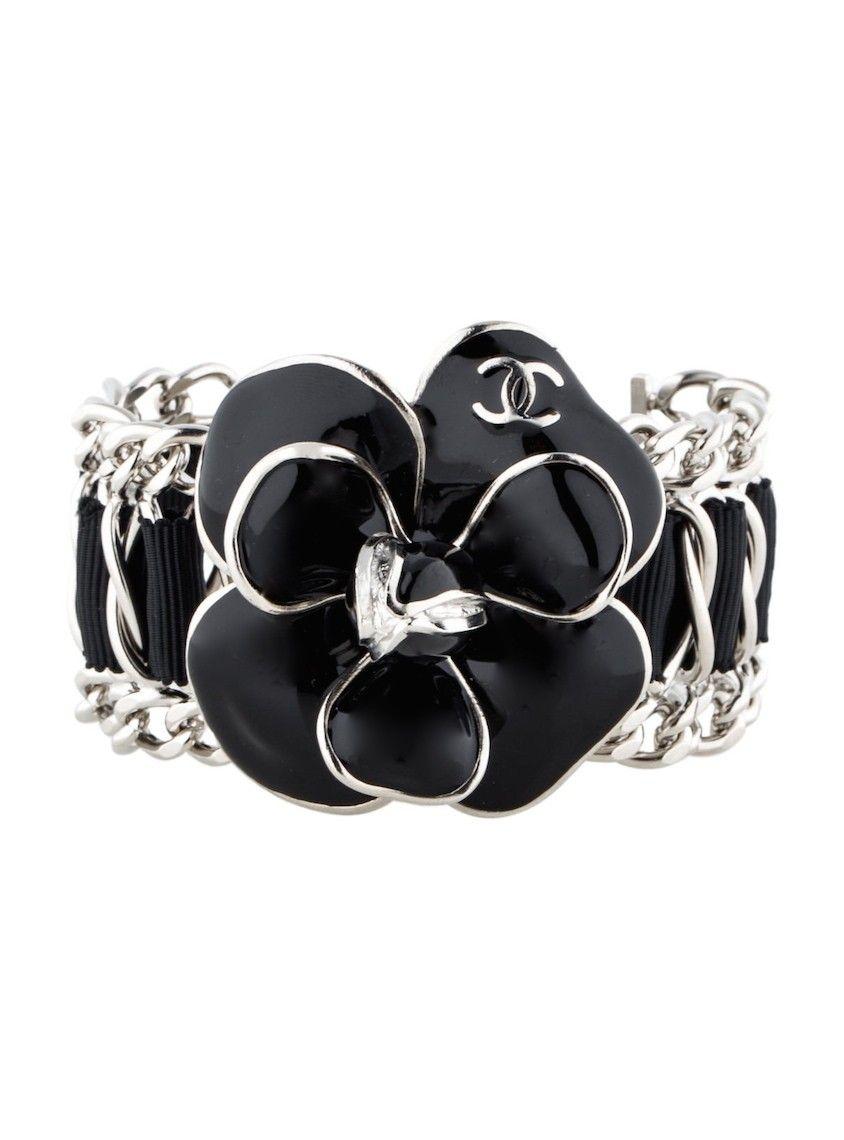 162ed313166 CHANEL Camellia Chain Link Logo Bracelet