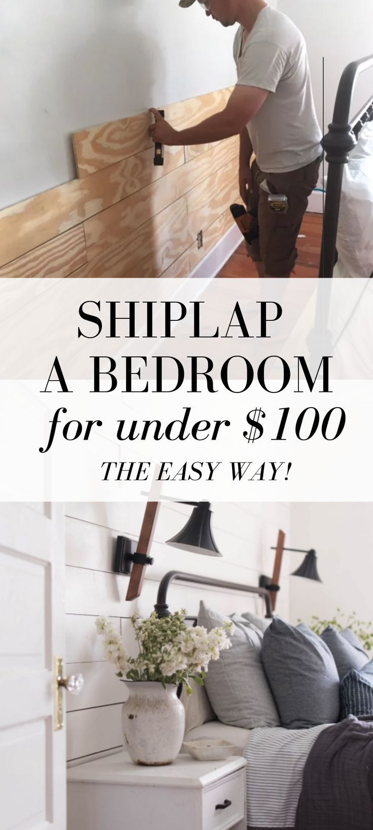 Photo of Cheap and Easy DIY Shiplap Wall,  #basementbedroomsmakeover #Cheap #DIY #Easy #Shiplap #wall