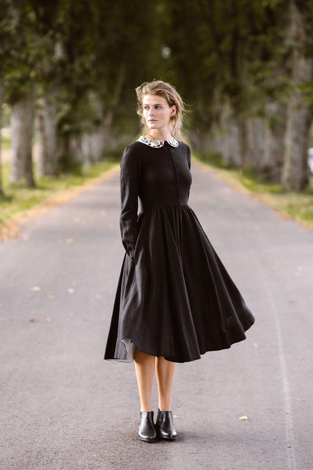 Sondeflor Classic Dress Linen Dress Black Dress Vintage Etsy Black Linen Dress Vintage Black Dress Classic Dress [ 1536 x 1024 Pixel ]