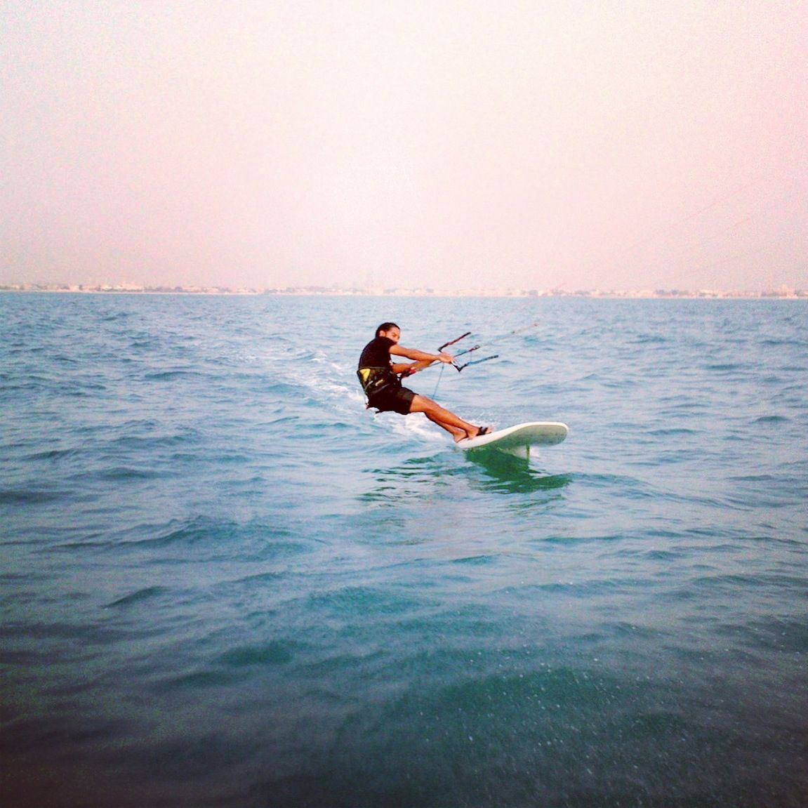 Kiteboard racing in Dubai around the World Islands