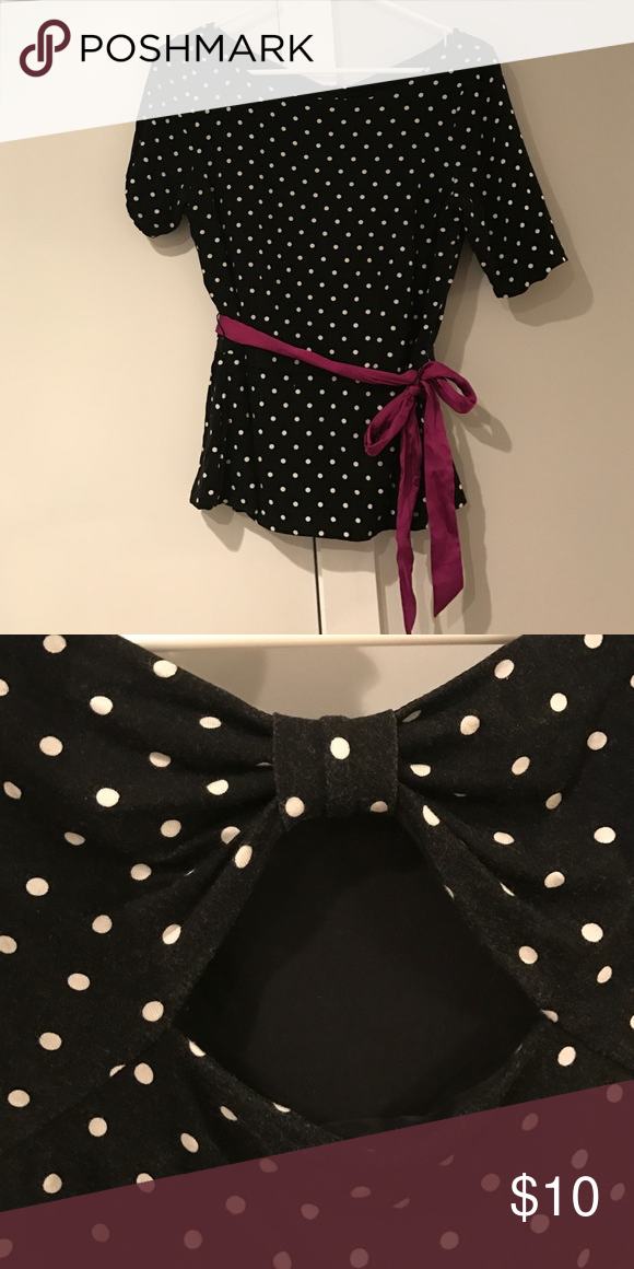 White house black market polka dot dress with purple belt