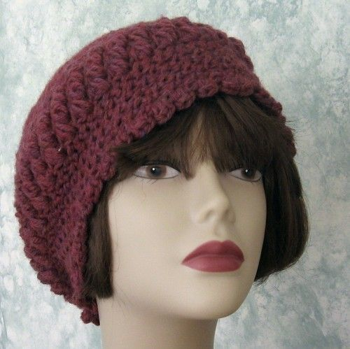 Crochet Pattern Womens Slouch Hat With Puff Stitch Trim Email ...