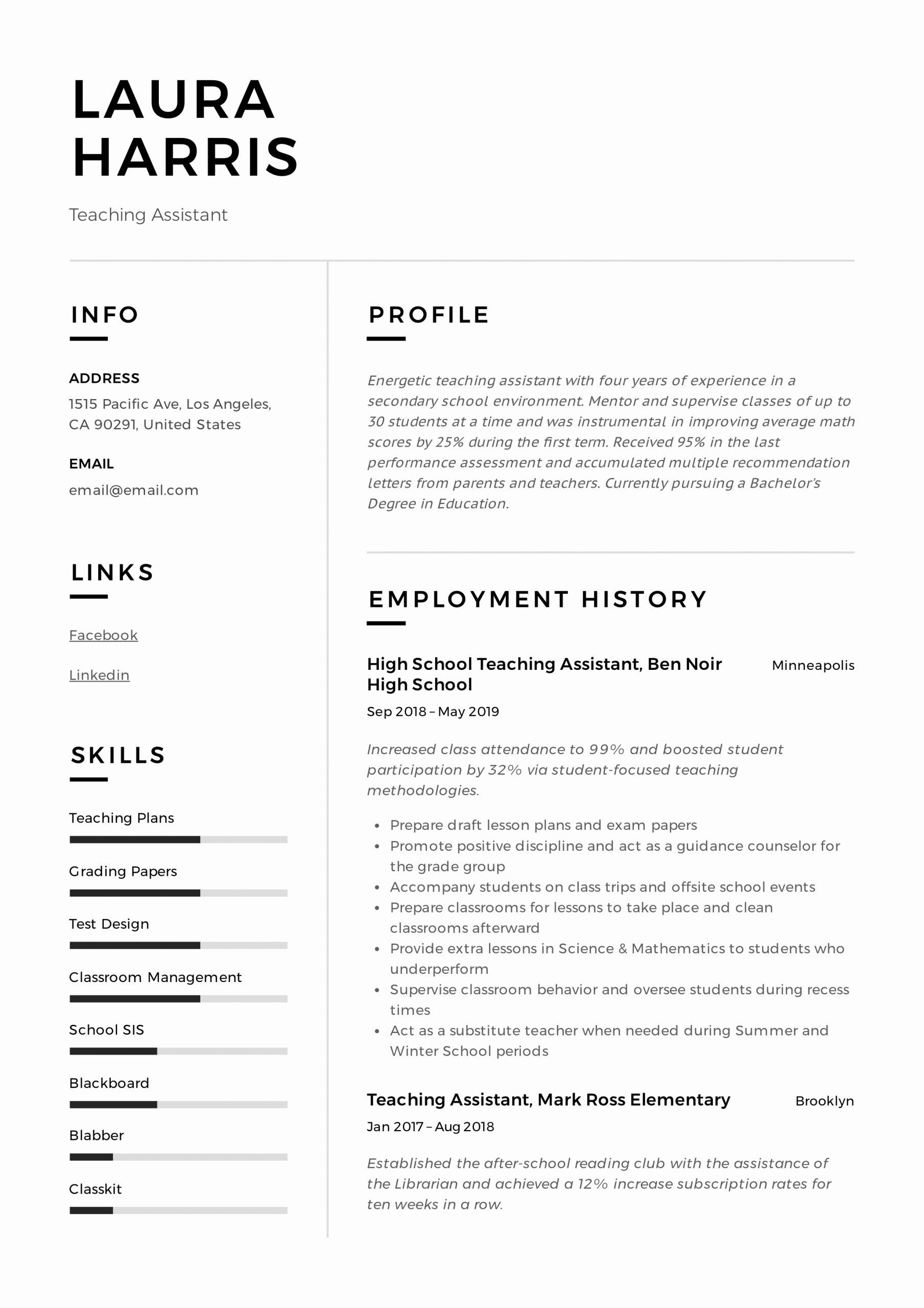23 teaching assistant resume description in 2020