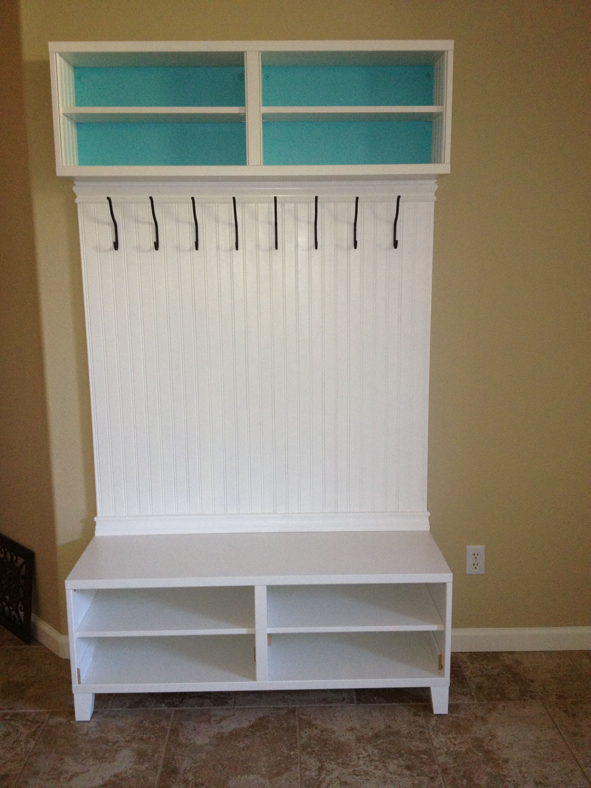 entryway storage unit made from 2 ikea besta media units hooks from ikea and bead board from. Black Bedroom Furniture Sets. Home Design Ideas