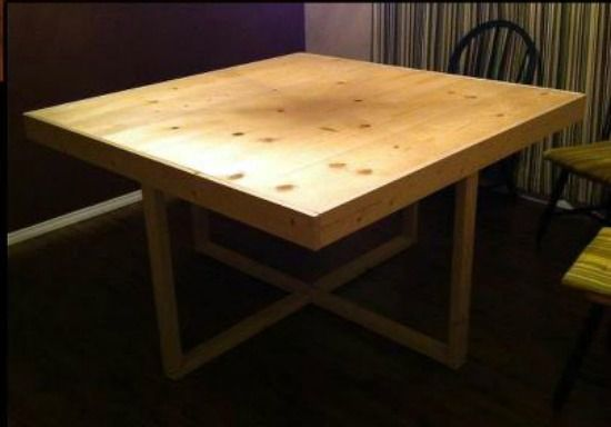 Square Modified Cross Frame Dining Table