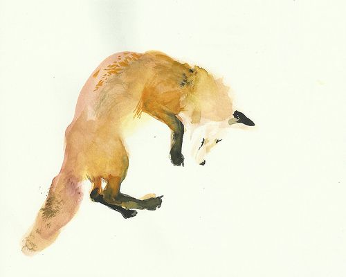 Fox Jump Watercolor
