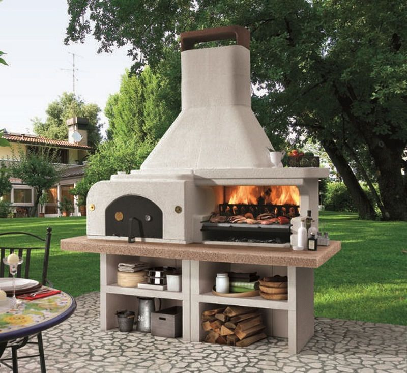 Charcoal barbecue / wood-burning / fixed / steel - GARGANO ...