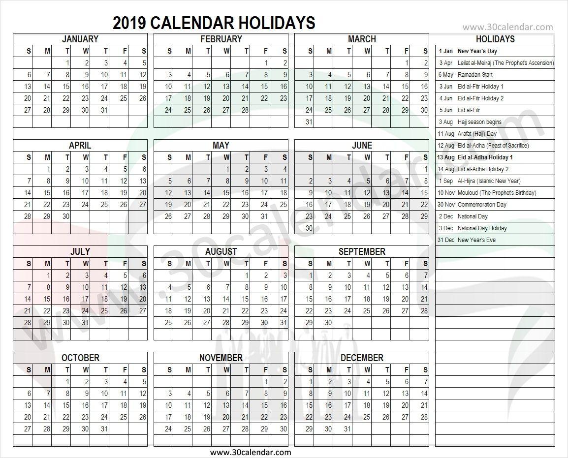 United Arab Emirates 2019 Holidays Calendar Holiday Calendar