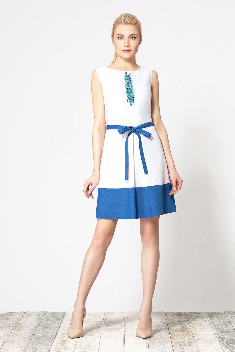 60057761cff Летнее двухцветное льняное платье