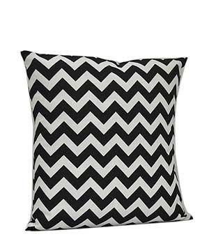 Monogrammed Black Chevron Print Cushion by EmbroideryByLindaP