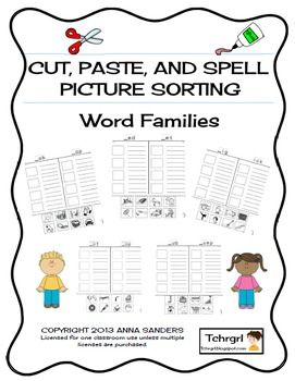 Cut and Paste & Spell Phonics Picture Sorting Worksheet