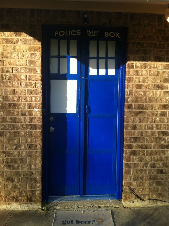 Our T.A.R.D.I.S. Door! It took me at least a month and it's still not finished. But close enough!!