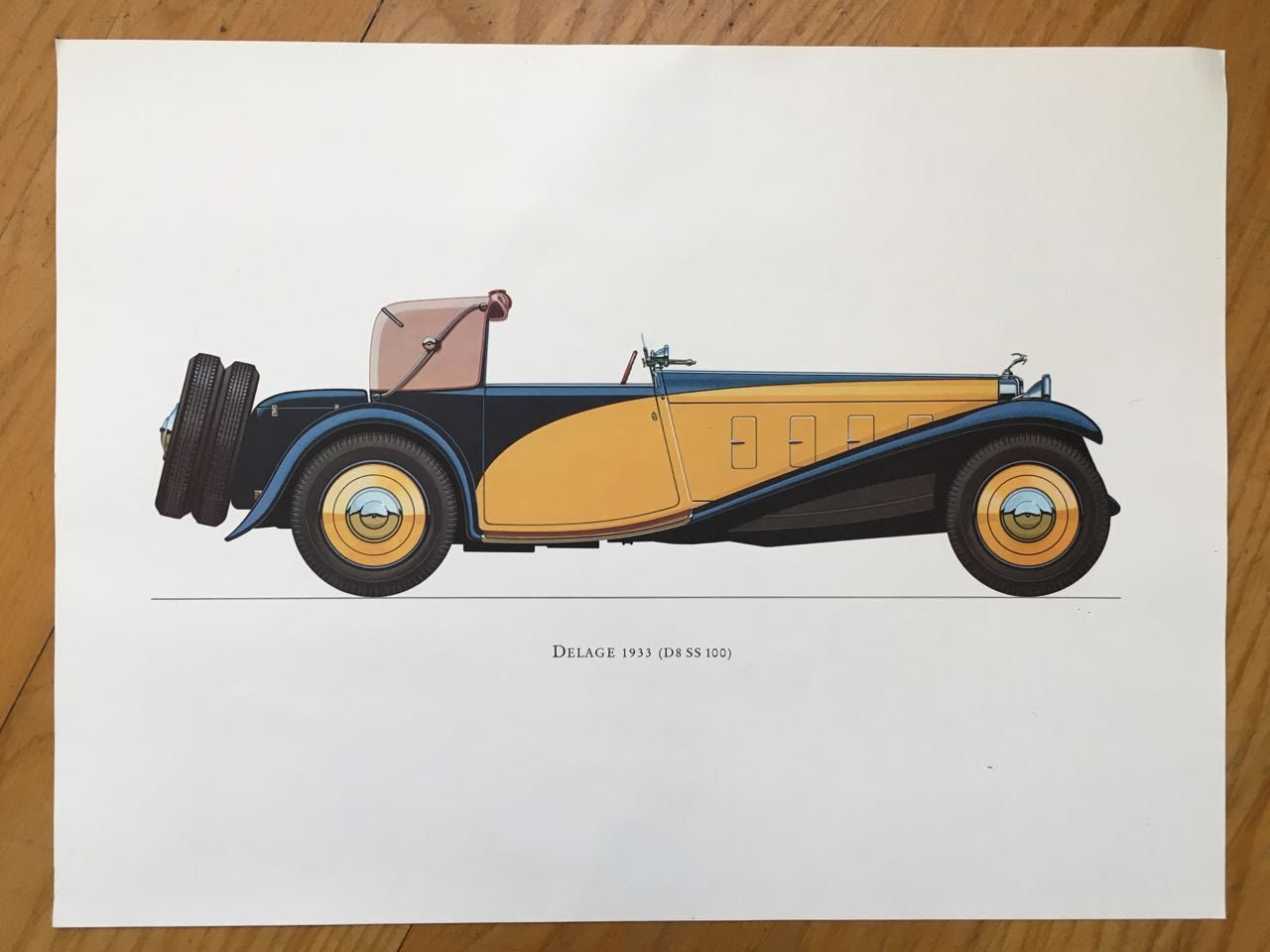 DELAGE 1933 - antique classic car print -  original vintage lithograph printed in the 1960's by antiqueprintstore on Etsy
