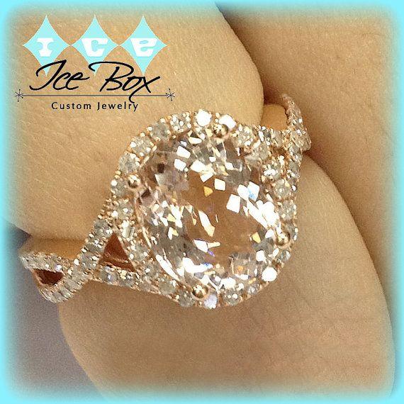 Morganite Engagement Ring 3.8ct Oval 14k Rose Gold Diamond Halo Twist Shank $1,340.00