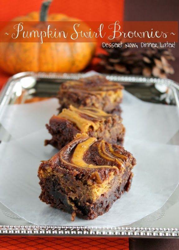 Pumpkin Swirl Brownies - Fudgy brownies with a pumpkin cheesecake swirl. |