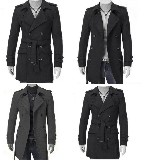 Men Slim Fit Mixed Wool Double Breasted Strap Trench by Zangshop