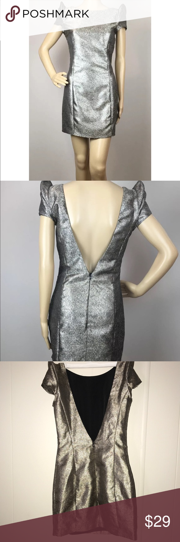 5/48 SAKS 5th Ave Metallic Sheath Dress Low Back