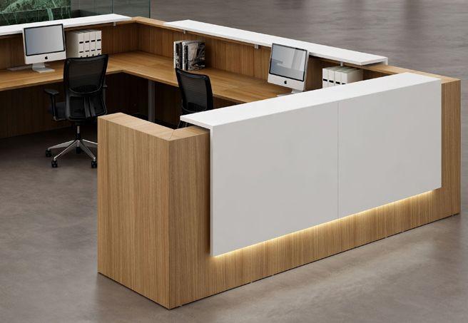 Simple Reception Cumputer Desk White Tone Top L Shpe Office