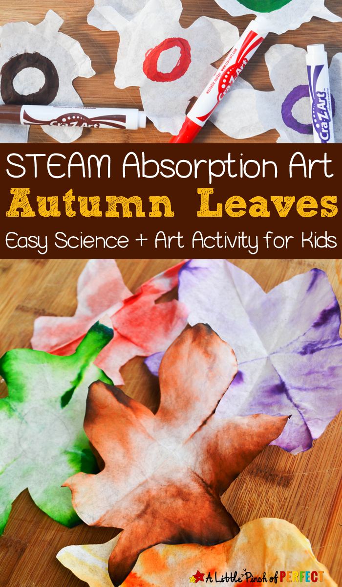 Autumn Leaves STEAM Absorption Art and Free Template - #fallactivitiesforkids