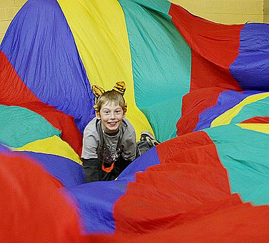 A Parachute Is An Ideal Prop To Involve Large Group Of Children Teens And Adults In Cooperative Non Competitive Activities Yoga Games