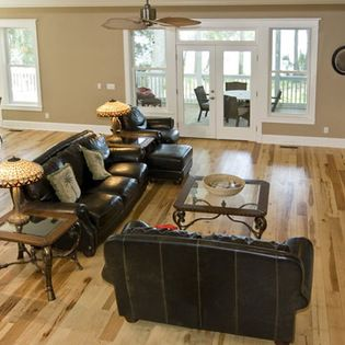 Natural hickory floors with beige walls and white trim. | Home ...