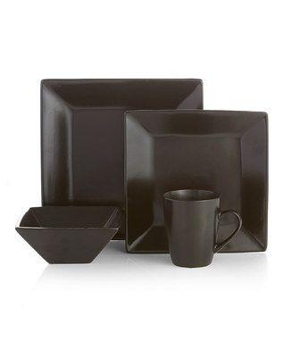 Black Harmony 16-Piece Dishware Set