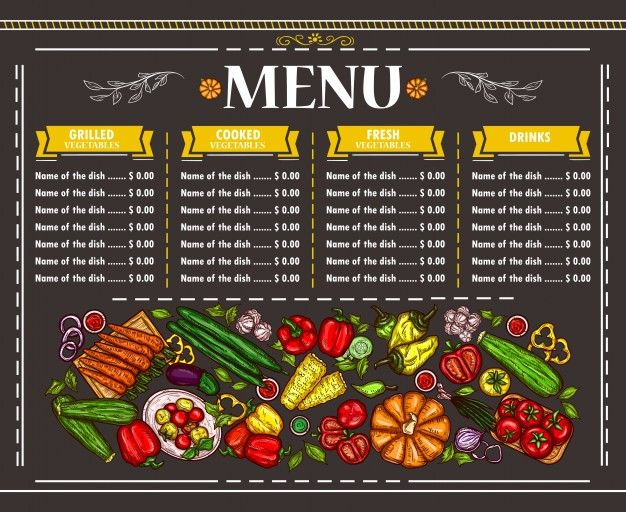 Download Vector Illustration Of A Vegetarian Restaurant Menu Design For Free Restaurant Menu Design Menu Design Menu Restaurant