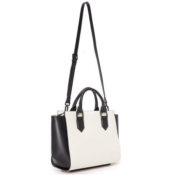 KENDALL + KYLIE Brook Satchel (25.500 RUB) ❤ liked on Polyvore featuring bags, handbags, structured leather handbags, real leather purses, leather satchel, white leather purse and white leather handbags