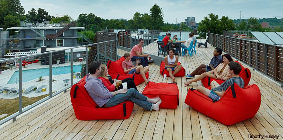 Eco modern flats a high style low impact downtown for Deck builders fayetteville ar