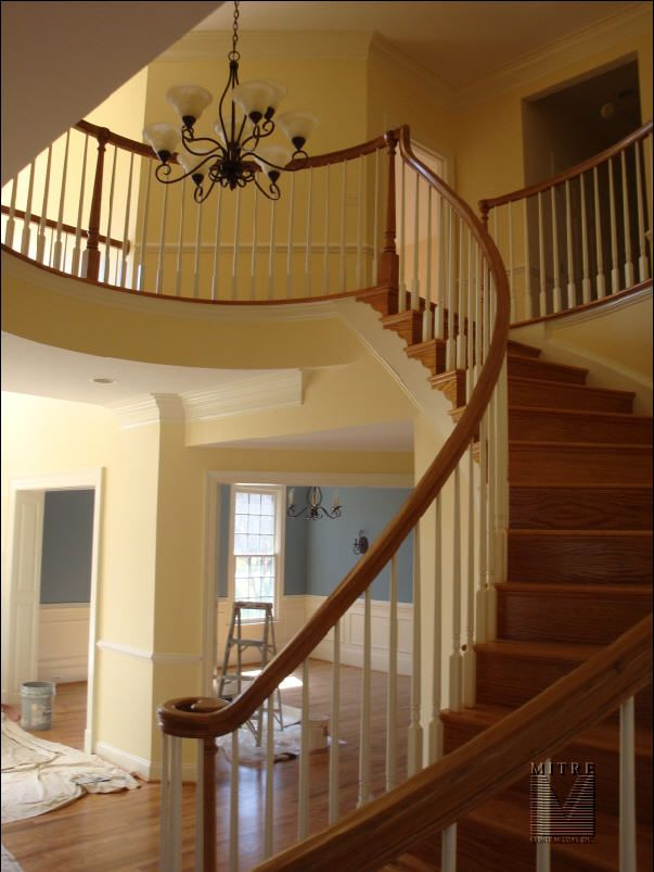 Nice Curved Staircase See Deck Railing At Http://awoodrailing.com