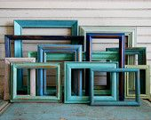 Picture Frame Gallery Seaside Shore Collection Turquoise Blues Greens Set of 12
