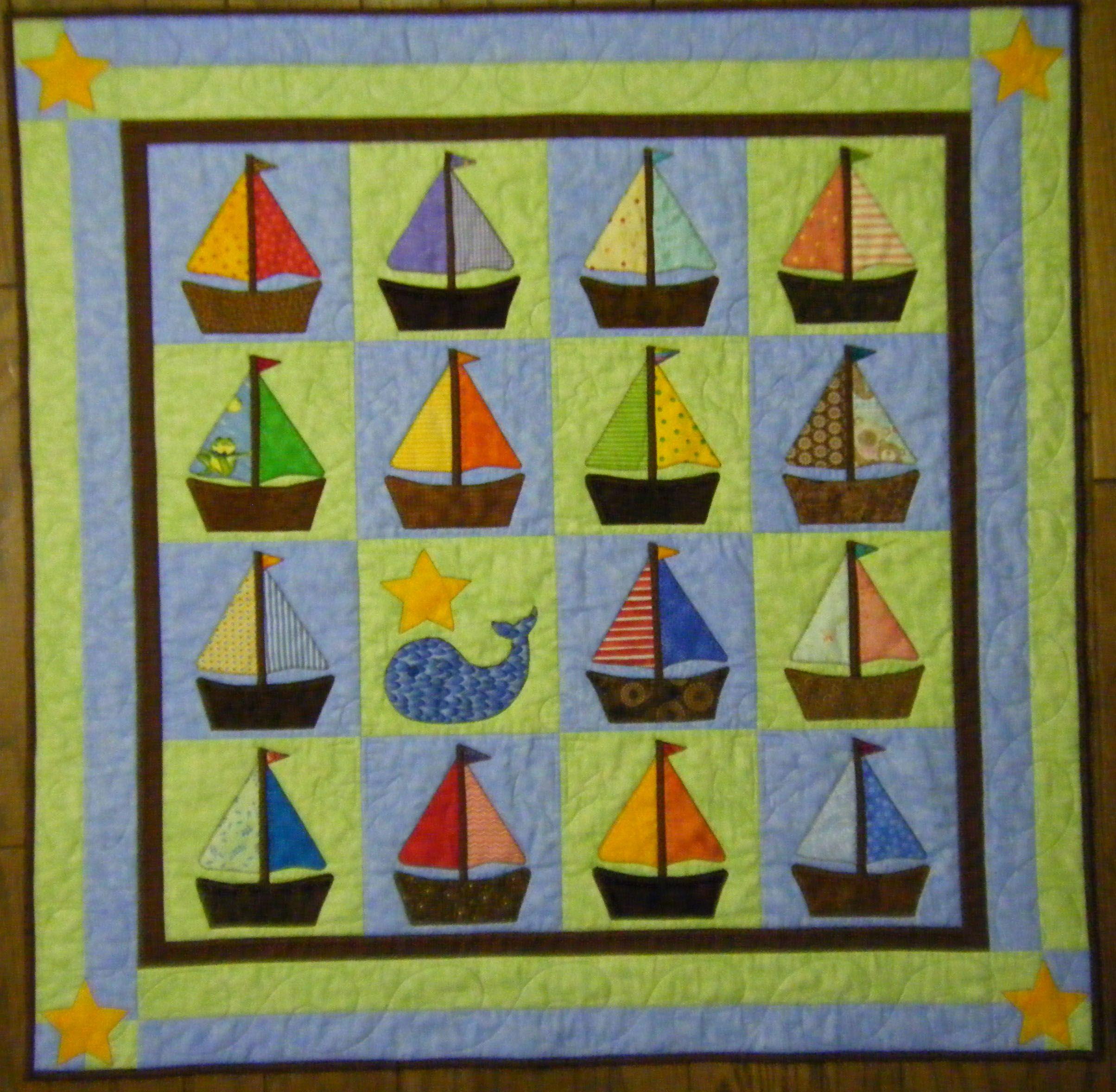 Sail Away - baby boy quilt using fabric scraps | Quilts | Pinterest ...