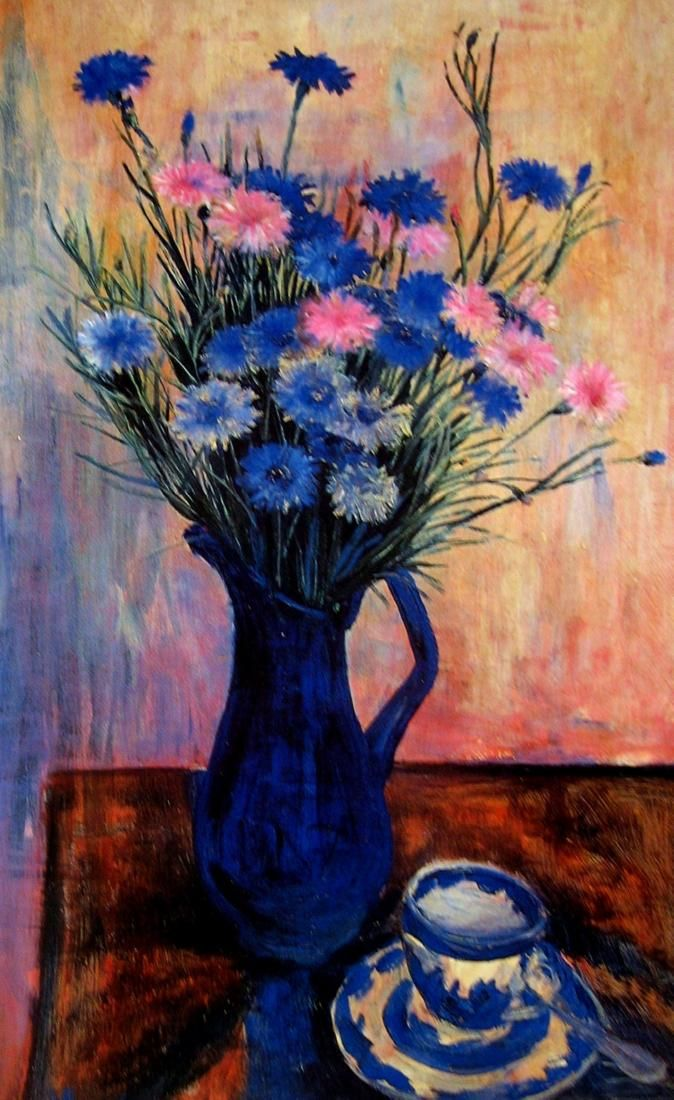 Cornflowers, Margret OLLEY Australian art, Flowers in