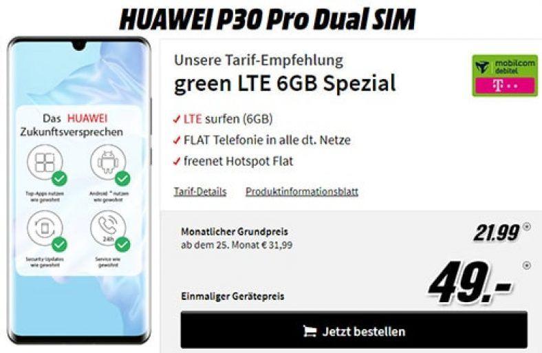 Huawei P30 Pro Fur 49 Mit Md Green Telekom Lte Vertrag Fur 21 99 Telekom Vertrag Handyvertrag
