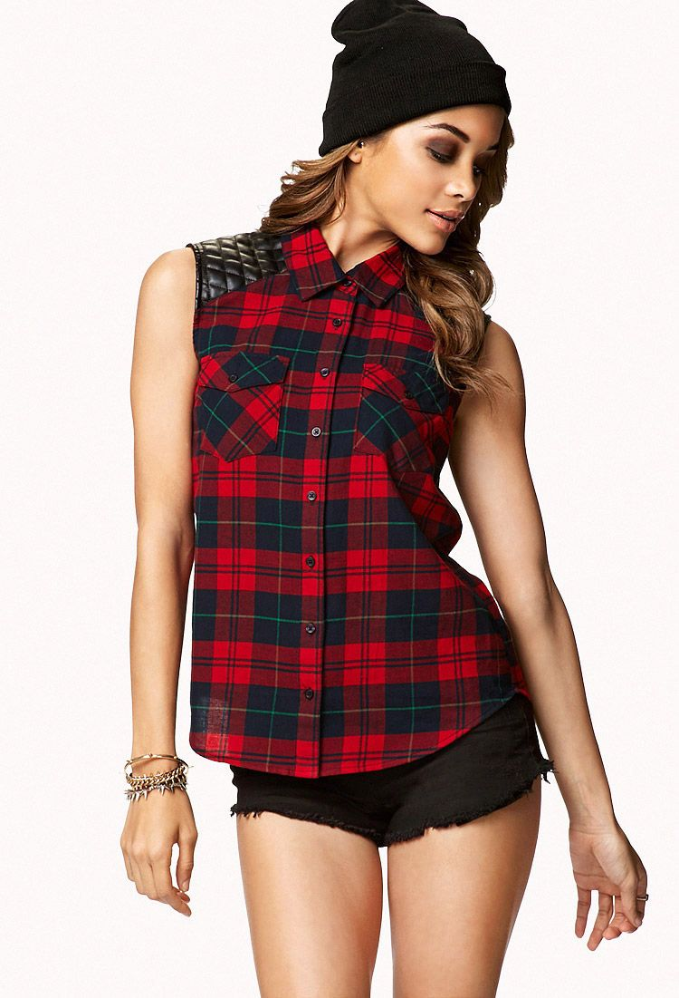 Flannel shirts 1990s  Sleeveless Plaid Flannel Top Would be so cute with combat boots