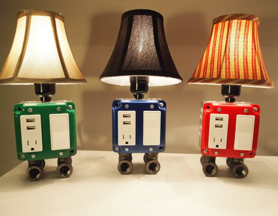 Vintage usb charger lamp by bosslamps on etsy lamps pipe