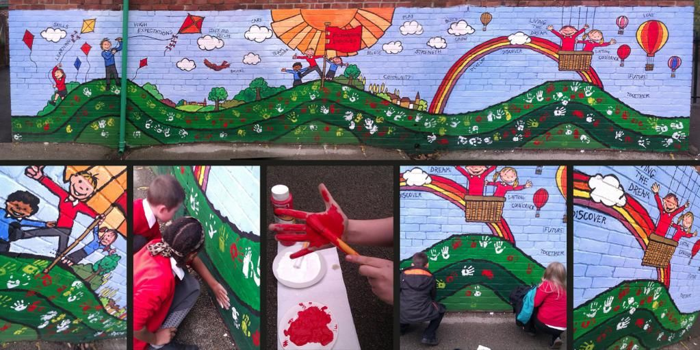 School mural finished. Today all 200 school children placed there painted hand prints on the mural. @richardsoneps