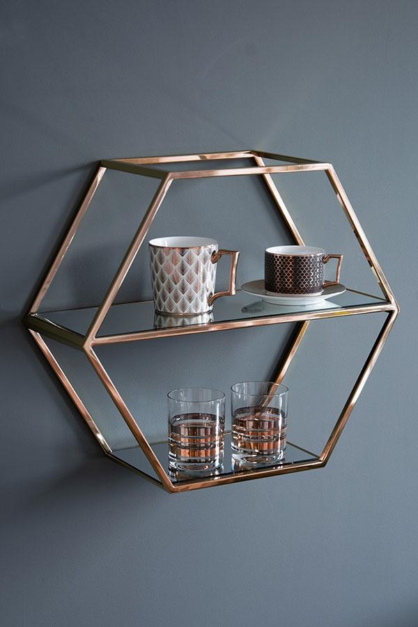 Alveare Copper Shelf In 2020 Copper Shelf Shelves Hexagon Shelves