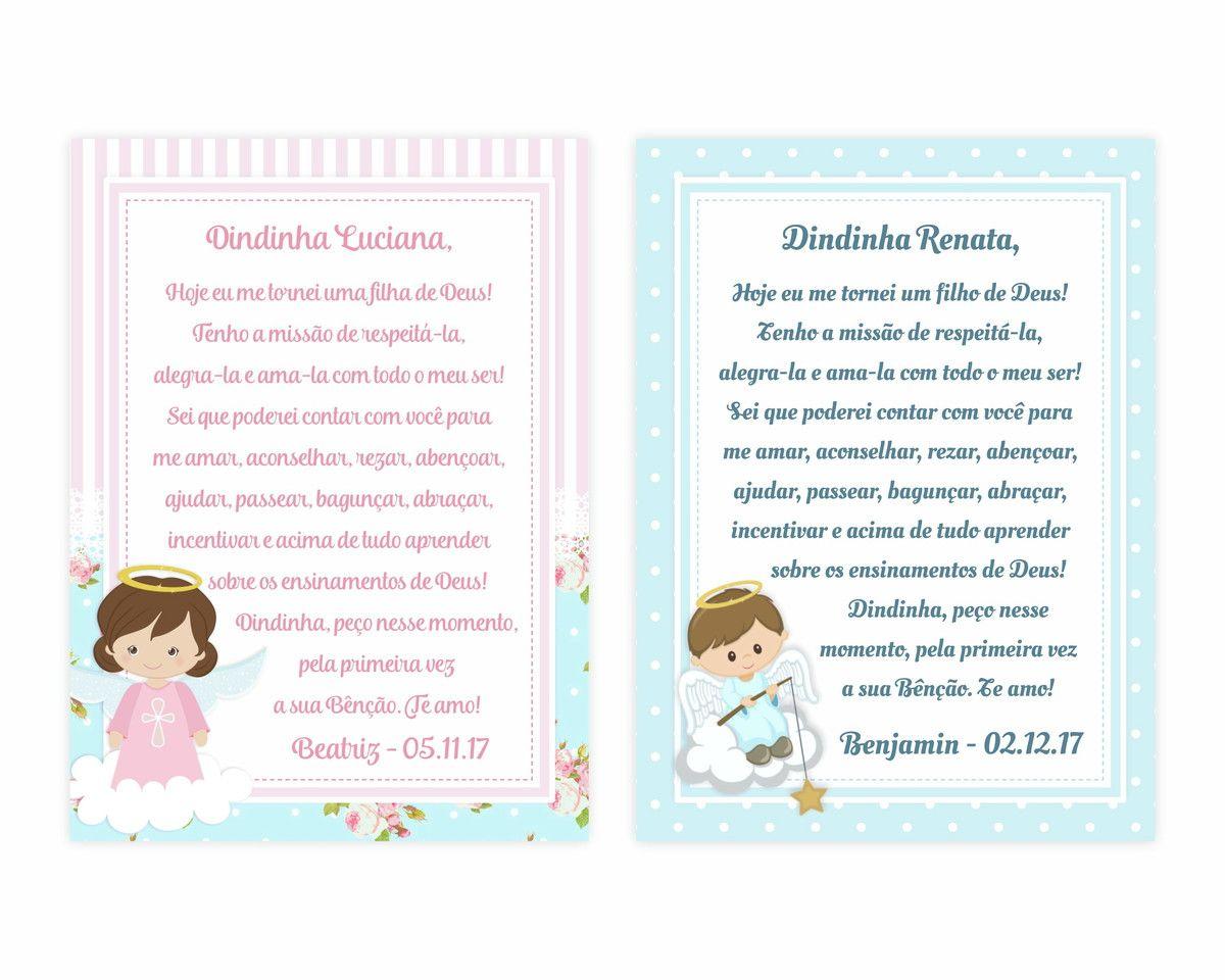 Arte Cartao Para Padrinhos Ou Lembranca De Batizado No Elo7 Ana