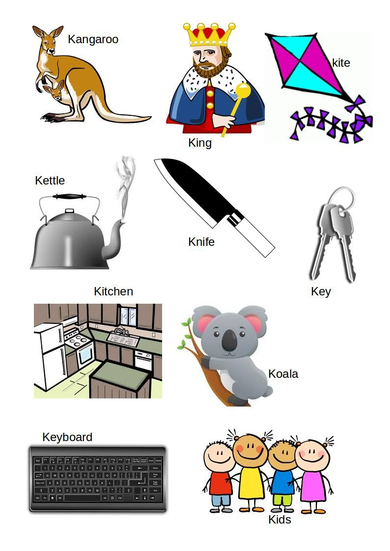 Spread The Love Download English Alphabet Letter K With Pictures And Words Printable Pdf File Here
