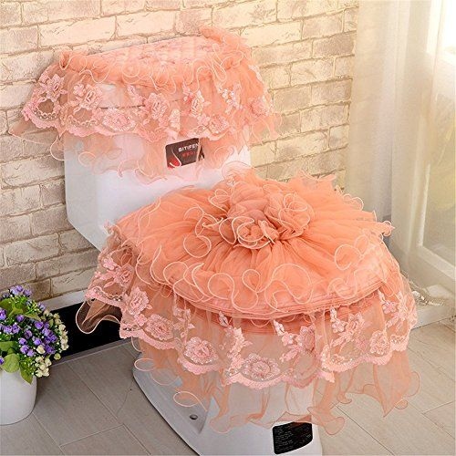 3 Pieces Lace Toilet Seat Cover Lid Cover Tank Cover Set Toilet