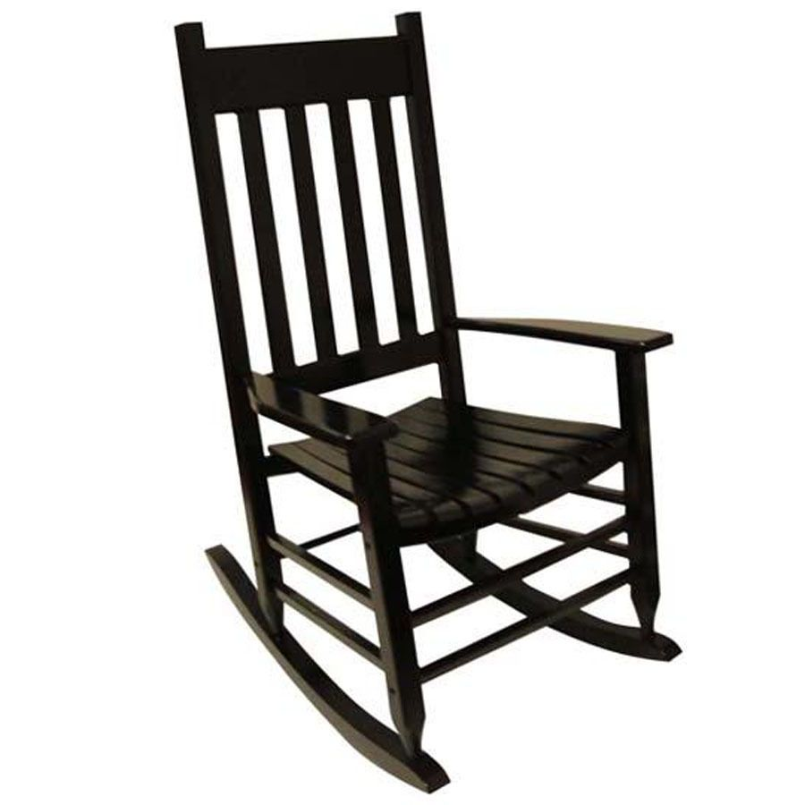 Shop Garden Treasures One Painted Black Wood Slat Seat Outdoor Rocking Chair  At Lowes.com