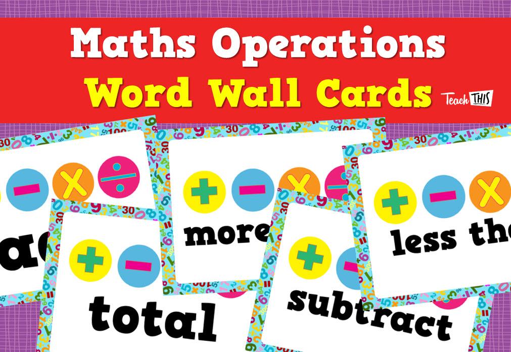 Maths Operations - Word Wall Cards | Mathematics | Pinterest | Math ...