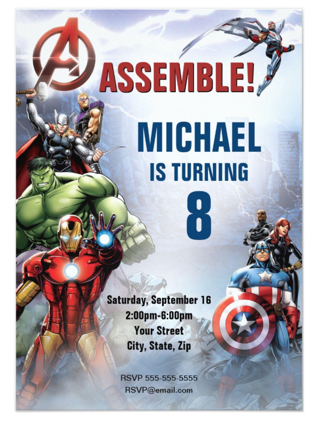 Marvel  Avengers - Birthday Invitation  Zazzle.com  Avengers