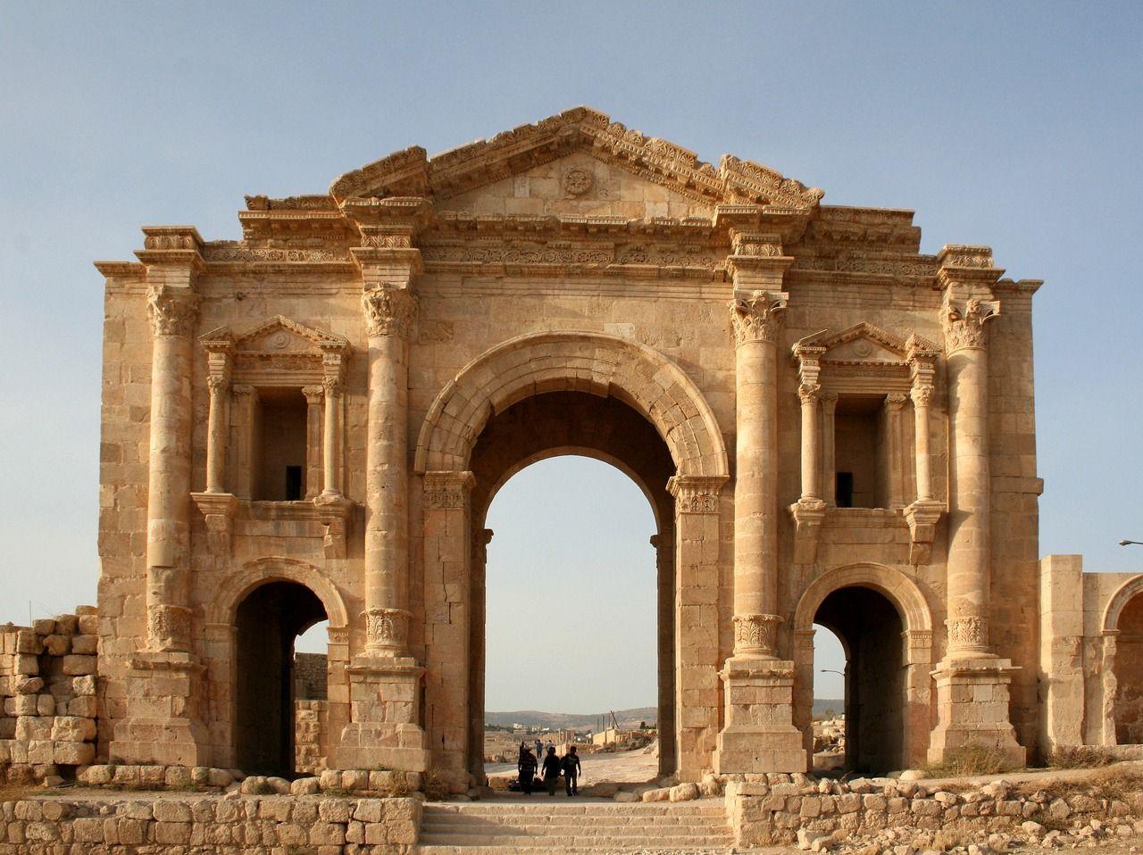 Roman Architecture Arches the ancient roman arch of hadrian, jerash, jordan. photo courtesy