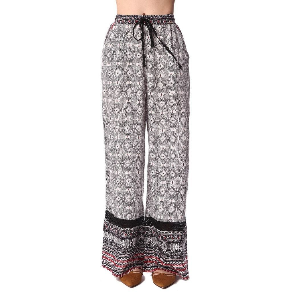 Black Wide Leg Pants in Ethno Print with Eyelash Lace Insert