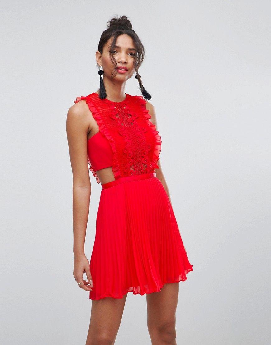 asos - plissiertes minikleid mit latz und spitze - rot jetzt