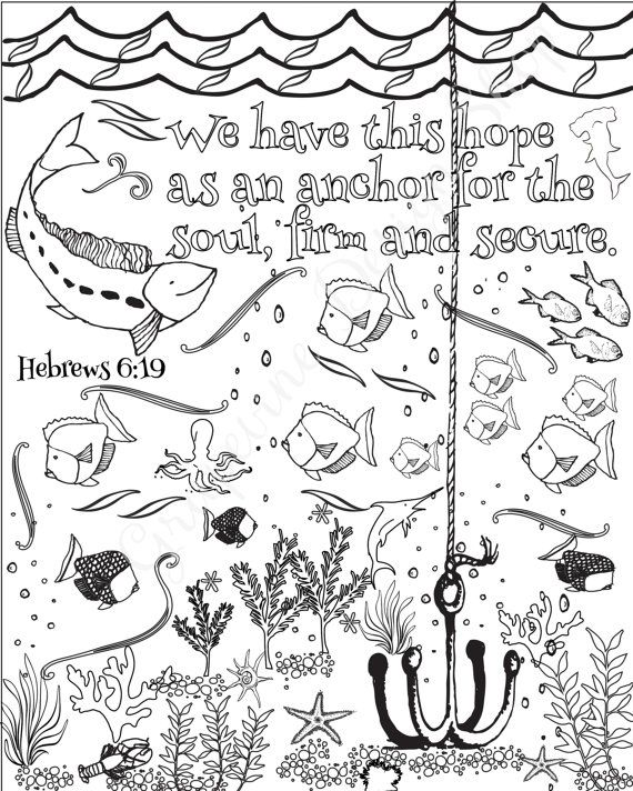 Bible verse coloring pages Set of 5 Beach Instant printable